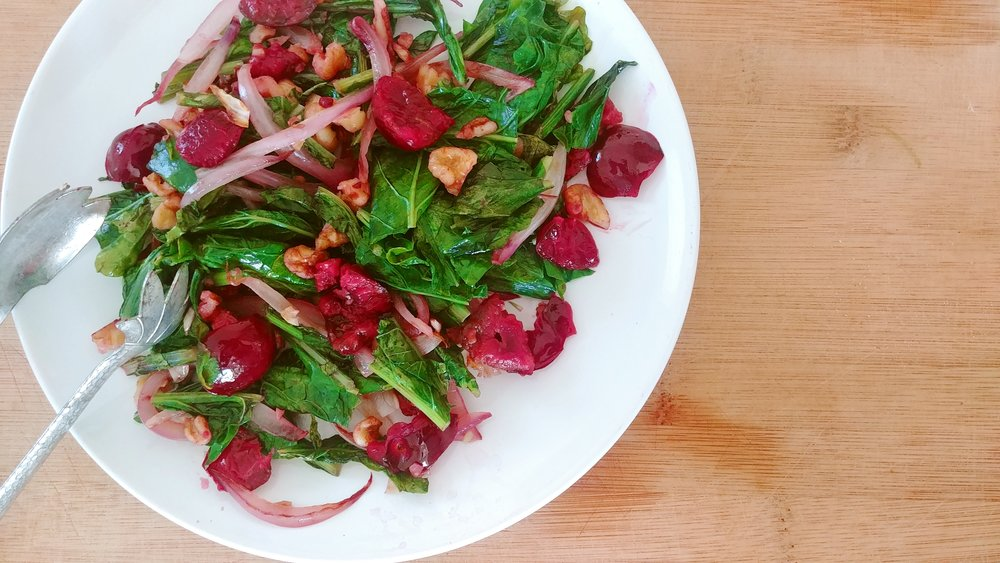 Cooked Turnip Greens & Cherries Salad