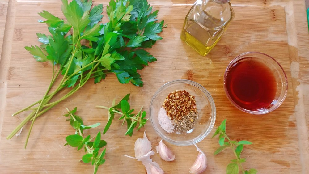 Simple ingredients for Chimichurri.