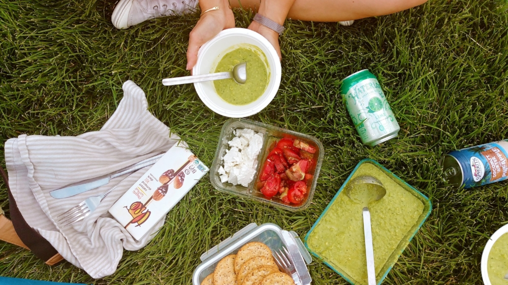 Summer picnic with a friend and chilled green gazpacho. Mmm...joys of summertime.