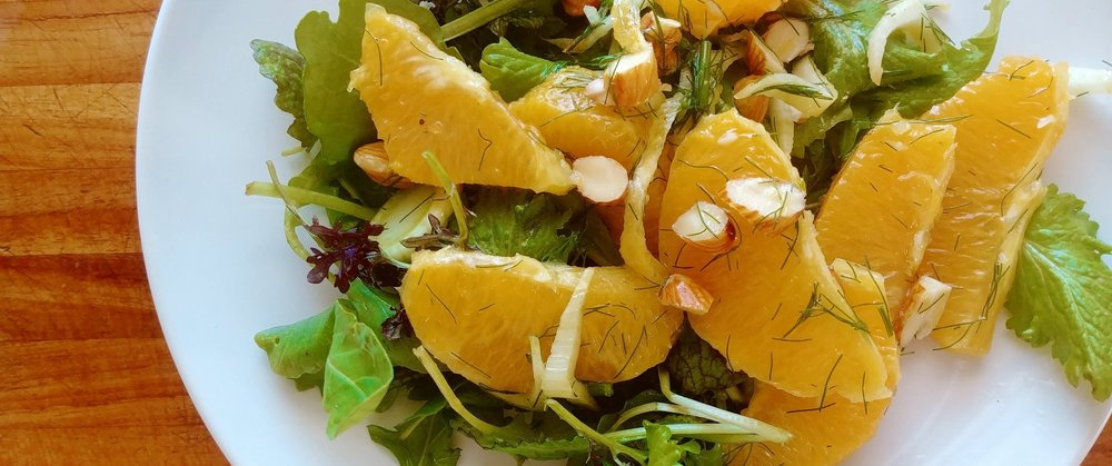 Citrus Fennel Salad on Mixed Baby Greens