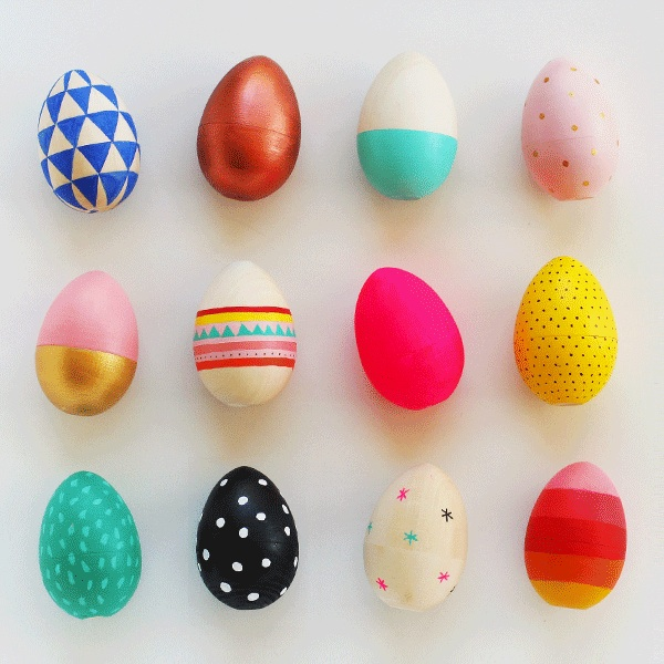 Painting wooden eggs (Link:  http://mypoppet.com.au/2014/04/how-to-paint-wooden-easter-eggs.html  )