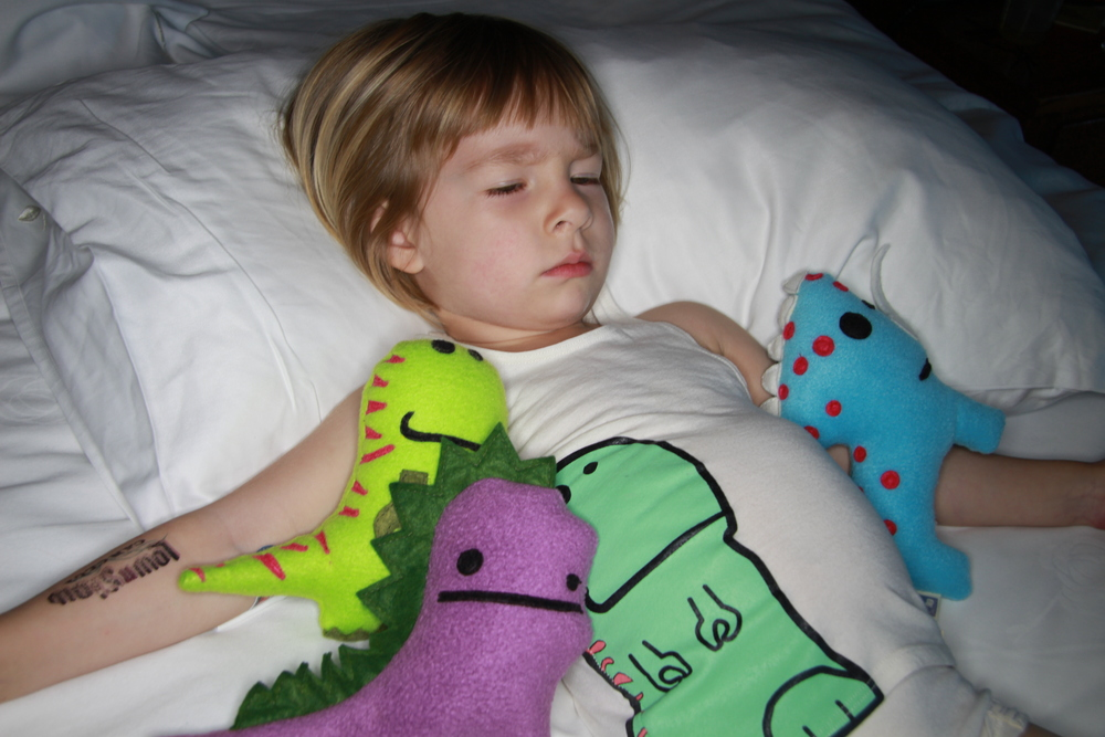 Coco always has her buddies, Frankie, Ryder and Coco the Dino to keep her company as she gets ready for bed.
