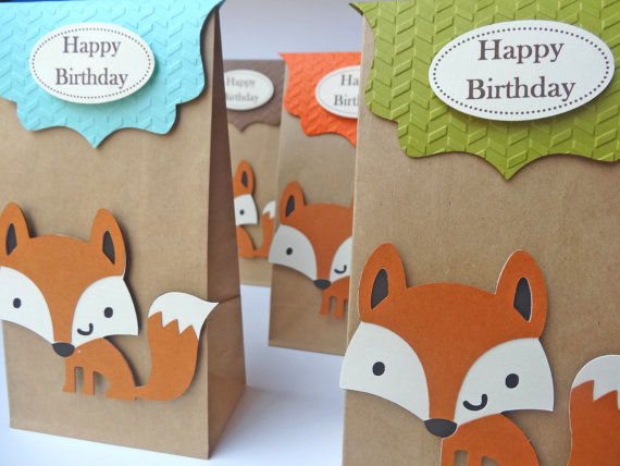 Fox themed paper goodie bags. (Link: etsy.me/ 1gLWvZv    )    hmmm a sweet surprise!