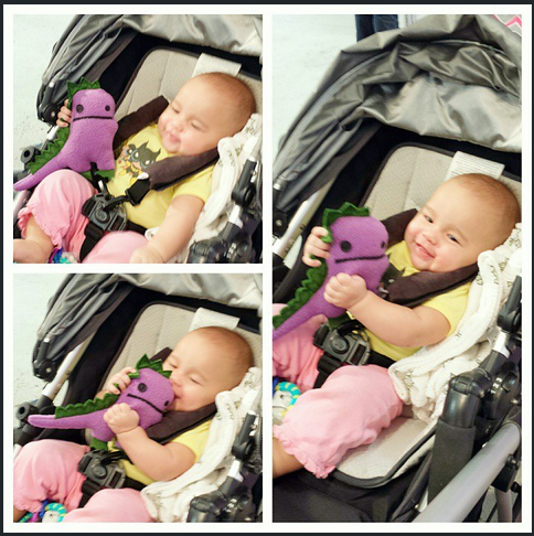 Another happy toddler getting the best gift. A FrankieDinosaur from Nawi Kids!