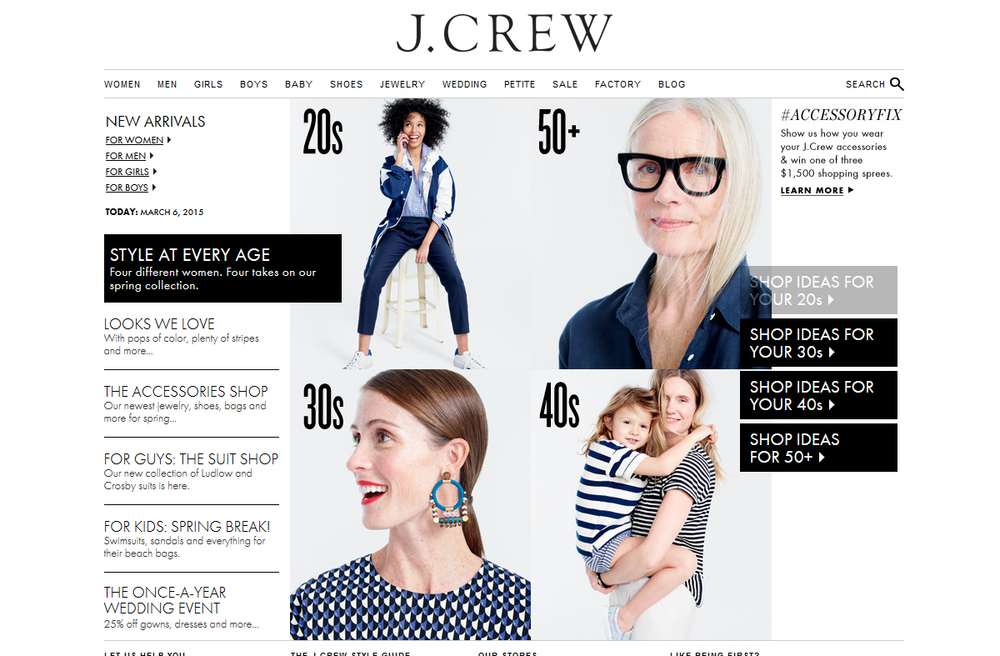 Screen capture of J.Crew website, March 2015.