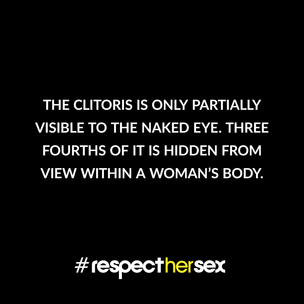 FACT 8: The clitoris is only partially visible to the naked eye. Three fourths of it is hidden from view within a woman's body.   Source