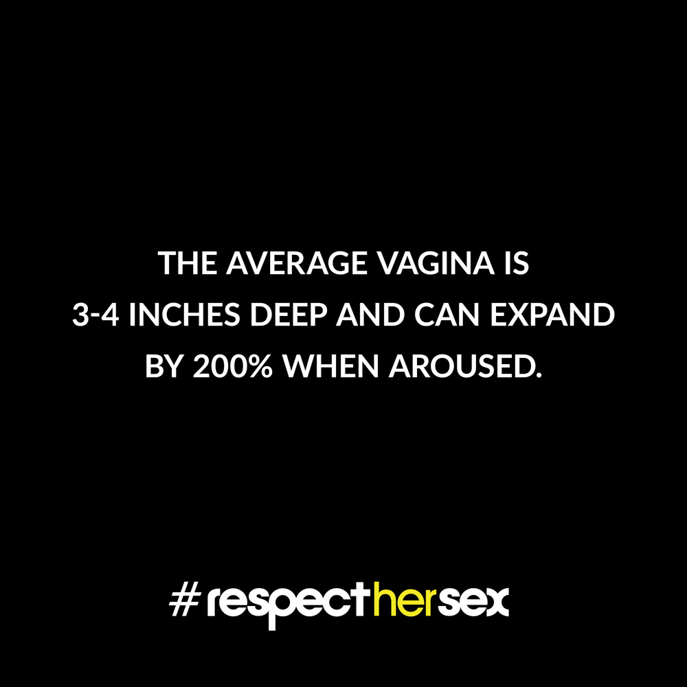 FACT 10: The average vagina is 3-4 inches deep and can expand by 200% when aroused.   Source