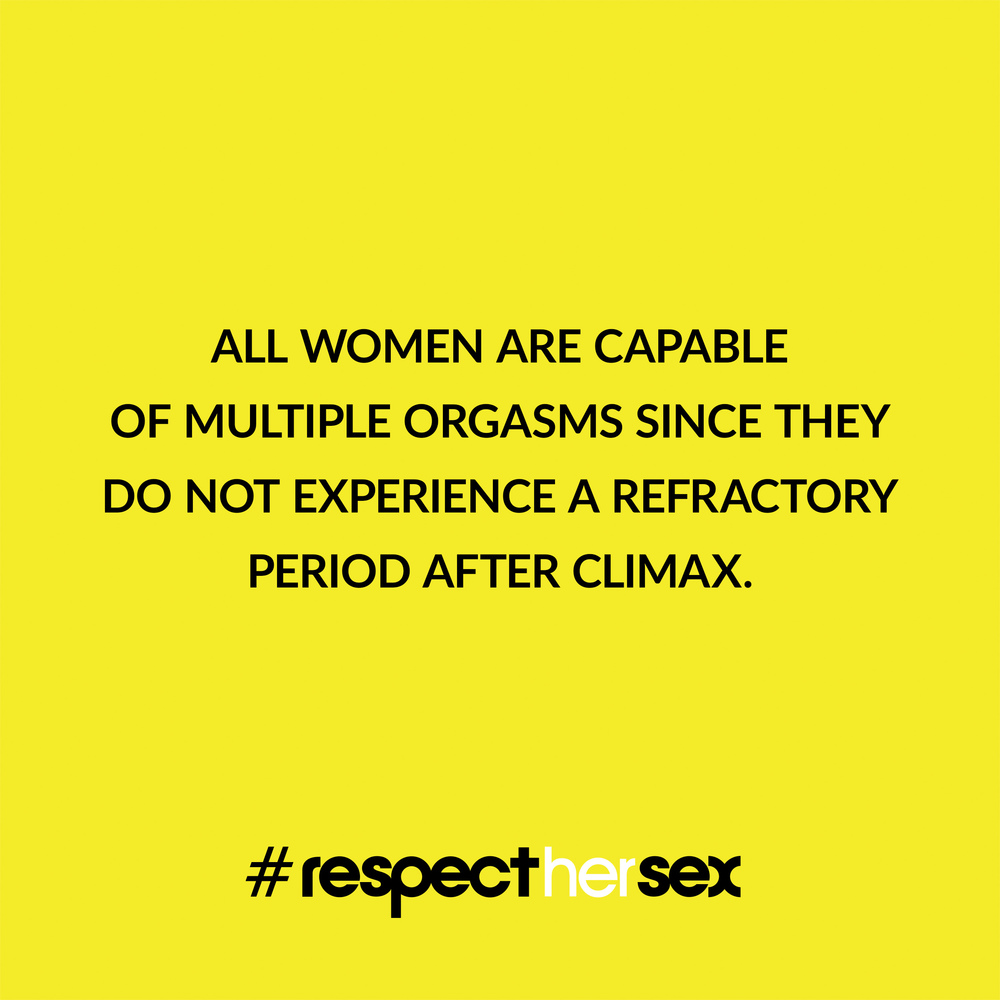 FACT 13: All women are capable of multiple orgasms since they do not experience a refractory period after climax.   Source