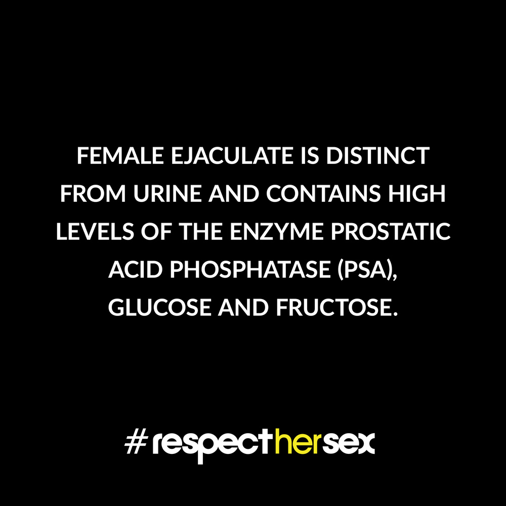 FACT 18: Female ejaculate is distinct from urine and contains high levels of the enzyme prostatic acid phosphatase (PSA), glucose and fructose.   Source