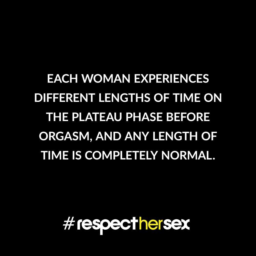 FACT 32: Each woman experiences different lengths of time on the Plateau Phase before orgasm, and any length of time is completely normal.   Source