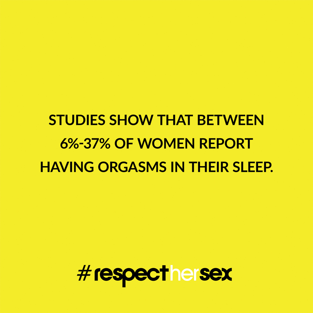 FACT 37: Studies show that between 6%-37% of women report having orgasms in their sleep.  Source:  I Love Female Orgasm , 2007. Dorian Solot and Marshall Miller.