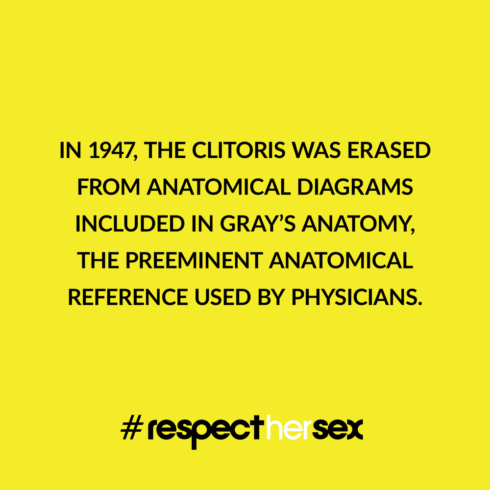 FACT 41: In 1947, the clitoris was erased from anatomical diagrams included in  Gray's Anatomy , the preeminent anatomical reference used by physicians.   Source
