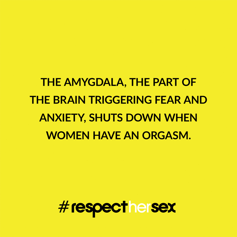 FACT 45: The amygdala, the part of the brain triggering fear and anxiety, shuts down when women have an orgasm.   Source