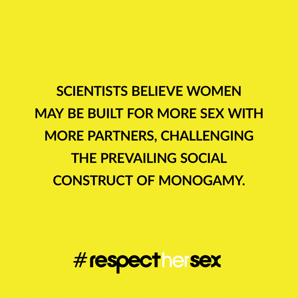 FACT 49: Scientists believe women may be built for more sex with more partners, challenging the prevailing social construct of monogamy.   Source