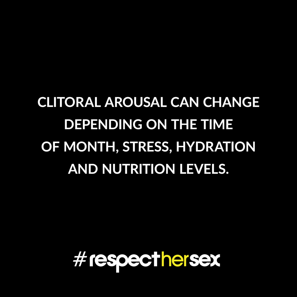 FACT 42: Clitoral arousal can change depending on the time of month, stress, hydration and nutrition levels.   Source