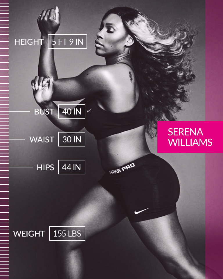 "Serena Williams  ""I literally was born with this most amazing body, and to be historic, and to amazing, and to be badass. And if anyone doesn't like it, then they don't have to. Because at the end of the day, I like it. And I know a lot of other people who like it too."" ☆ Serena Williams ☆ We are #MoreThanANumber.  • • •  Height: 5 FT 9 IN Bust: 40 IN Waist: 30 IN Hips: 44 IN Weight: 155 LBS"