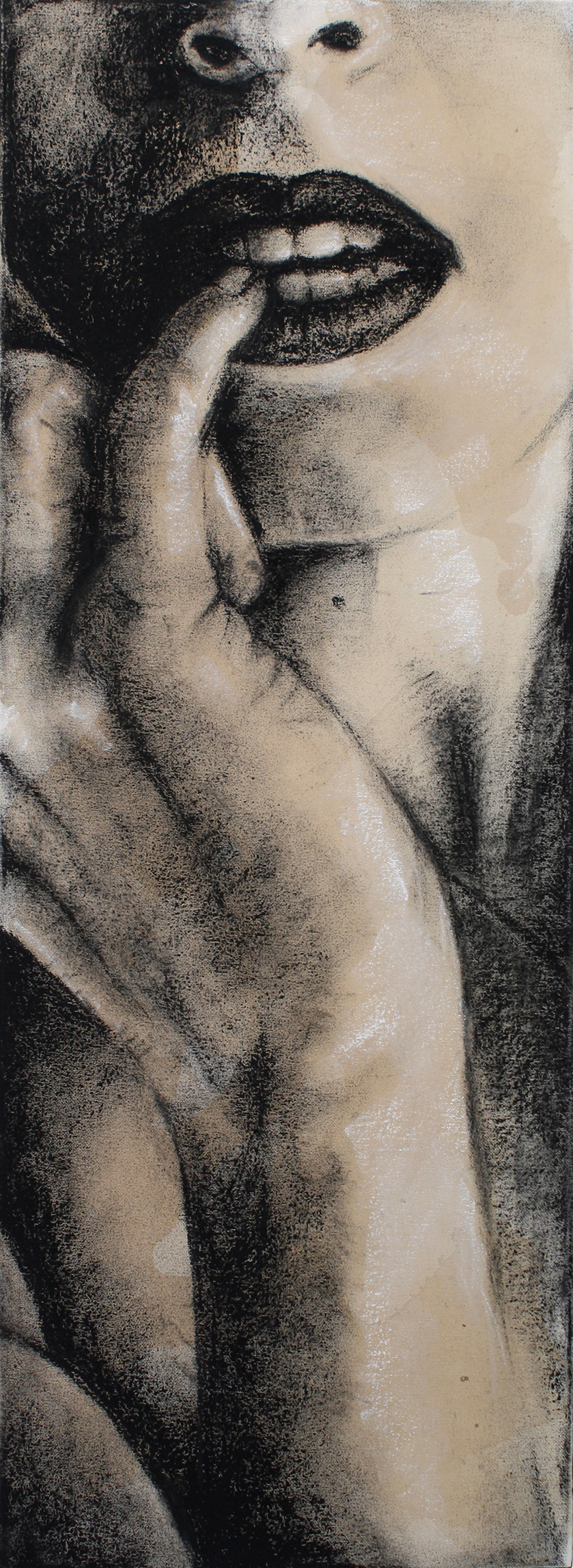 Sexting IMG.201402.003  Charcoal & Tea on Canvas ©2015 The Femme Project