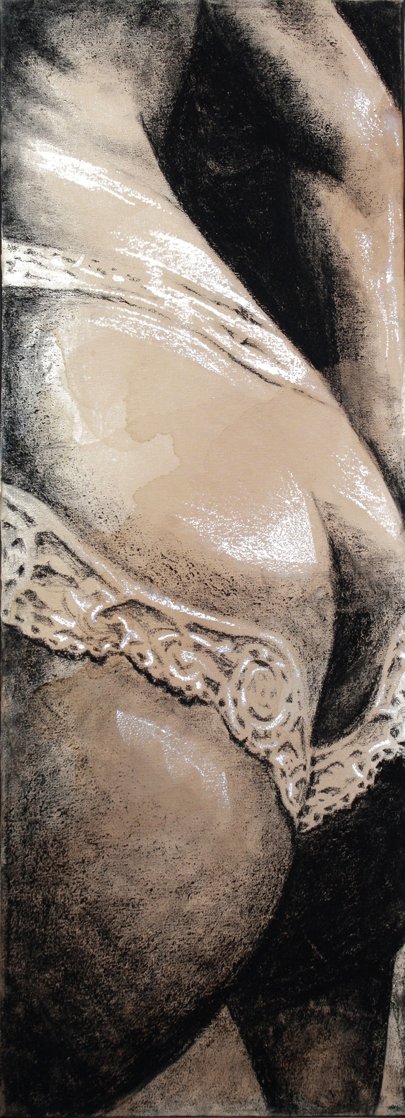 Sexting IMG.201405.002  Charcoal & Tea on Canvas ©2014 The Femme Project