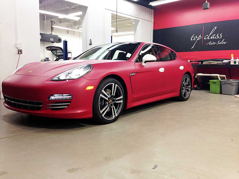 porsche panamera matte cherry red wrap top class auto salon