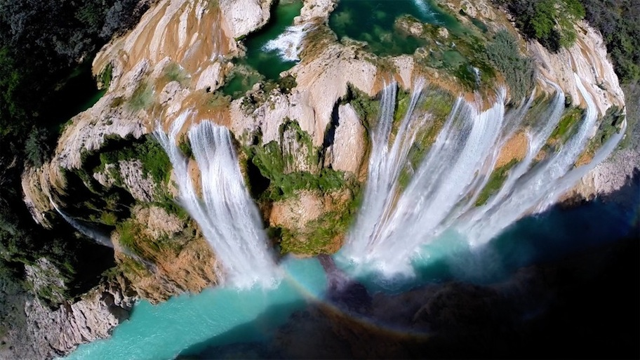 "Award-winning ""Postandfly"" drone photography of Tamul Falls, Mexico via Dronestagram."
