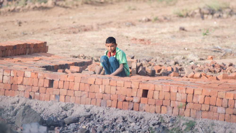 Child laborer in brick factory, Southern India