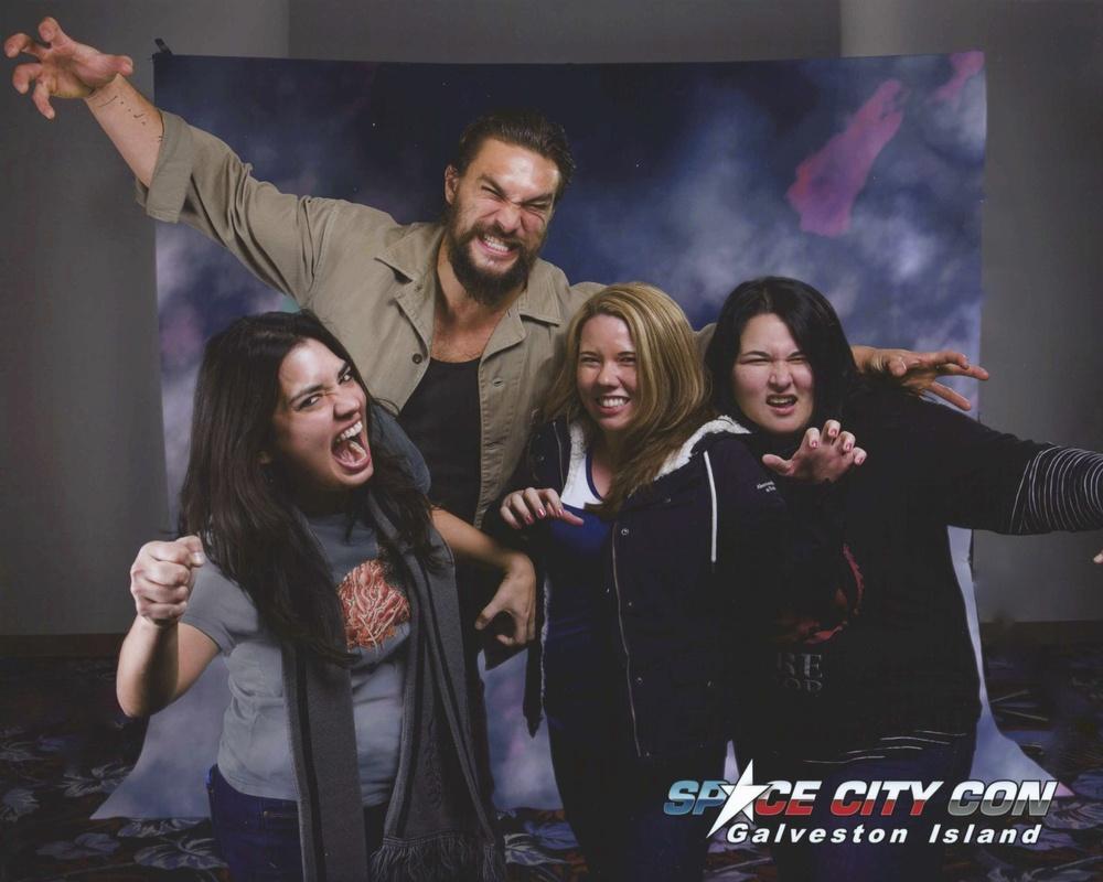 Carly, Sherri and Teresa with Jason Momoa (Khal Drogo).