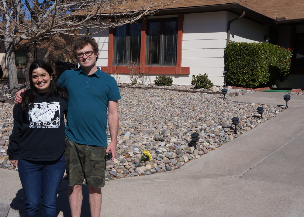 The owner offered to snap a picture of us in front of her house. So nice!
