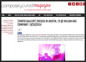 Photo gallery of  ODESZA  performing at Vulcan Gas Company in Austin, Texas.   For Compose Yourself Magazine