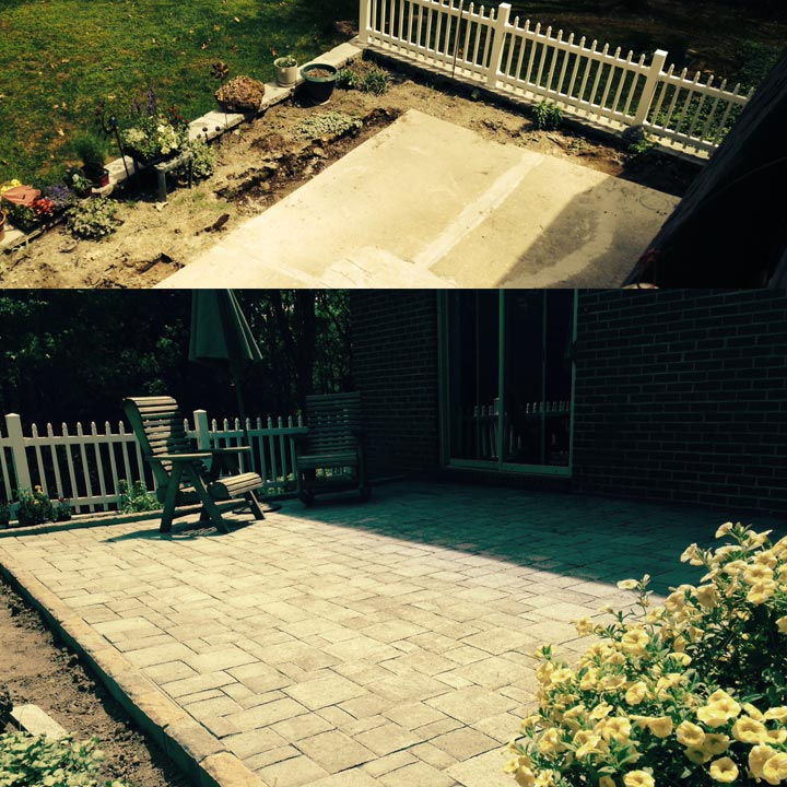 Patio Install Before and During