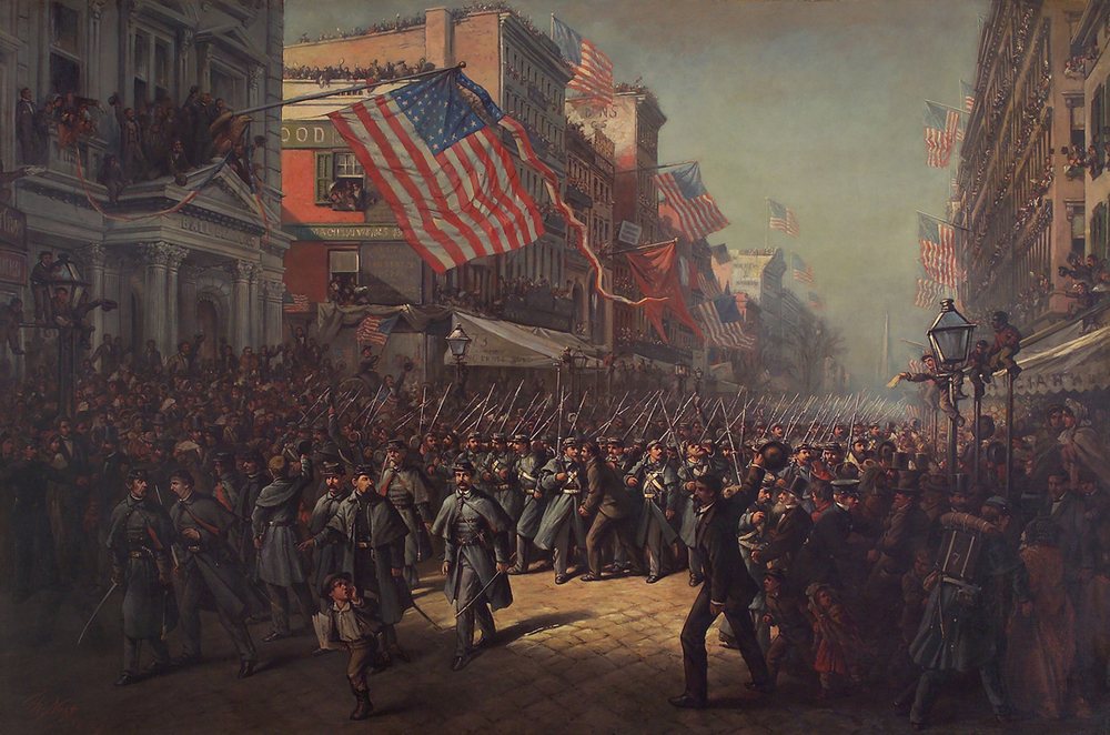 Illustrator and artist Thomas Nast immortalized the 7th Regiment's triumphant departure on April 19, 1861, from New York City in his largest painting. The artist depicted a patriotic, flag–festooned scene as the regiment passed in review on Broadway before Major Robert Anderson, the hero of Fort Sumter, South Carolina. Although he filled the image with an air of excitement, Nast nonetheless included saddened spectators, harbingers of times to come. Many heartfelt thanks to the Seventh Regiment Fund.