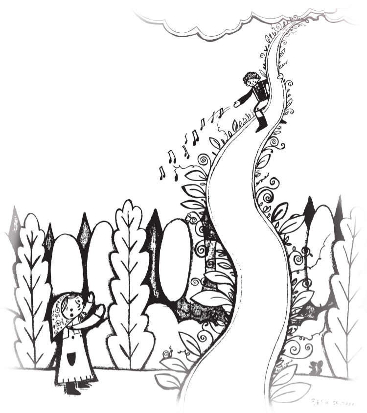 Erin's original drawing of Down the Beanstalk.