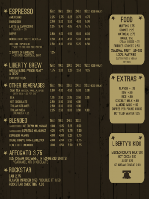 Liberty Espresso Menu Design