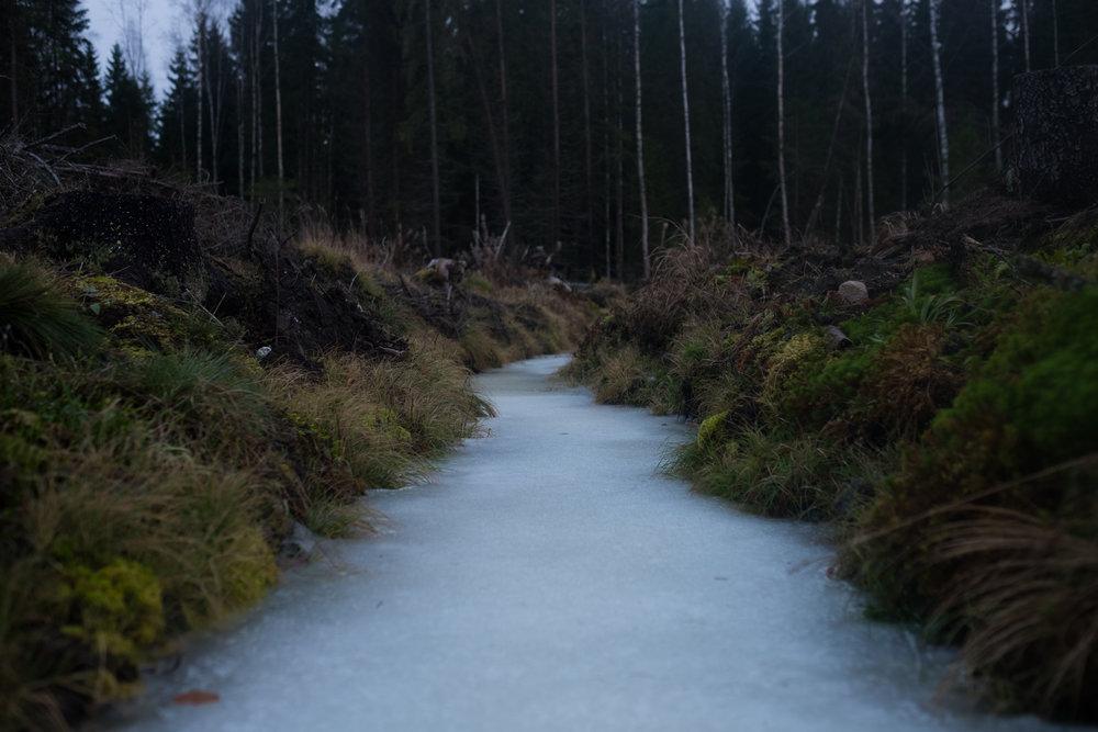 Frozen stream. Ruovesi, Finland.