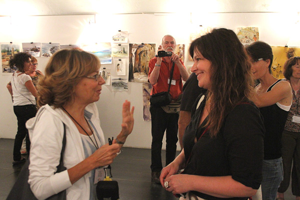 Hilde sammen med Cristina Bracaloni, the Vice Pesident of tbe Italian Watercolorists Association ECWS.