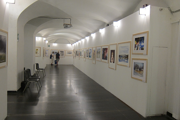 Some of the paintings at the exhibition.