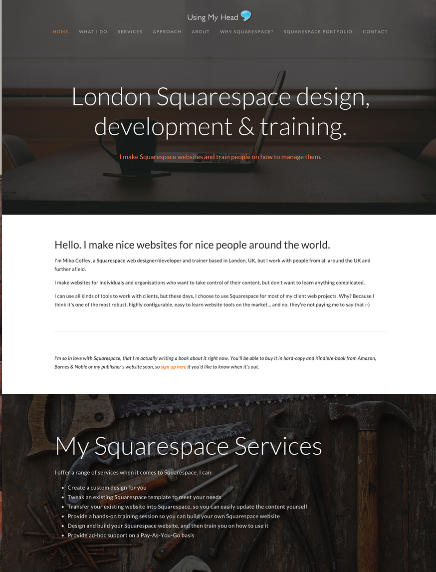 Miko Coffey's Squarespace design portfolio