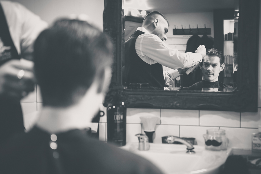 groom at local barbers