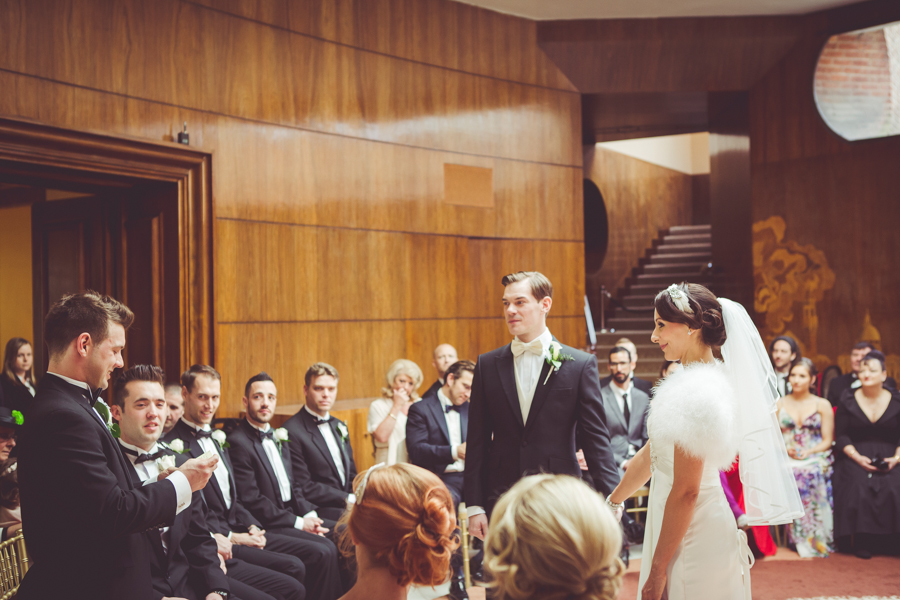 Wedding Ceremony in the art deco hall at Eltham Palace