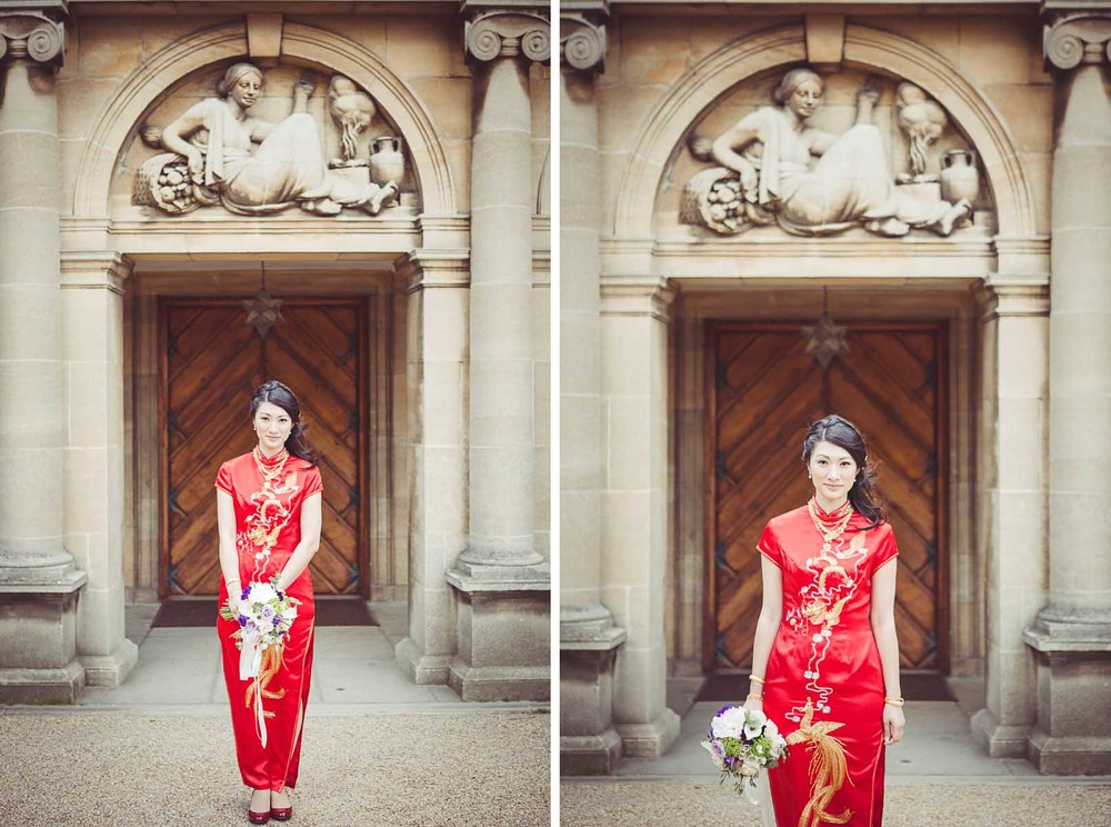 Traditional red chinese wedding dress at Eltham Palace