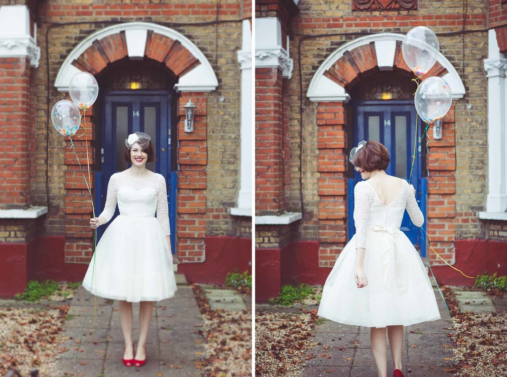 Bride portraits outside her south london flat