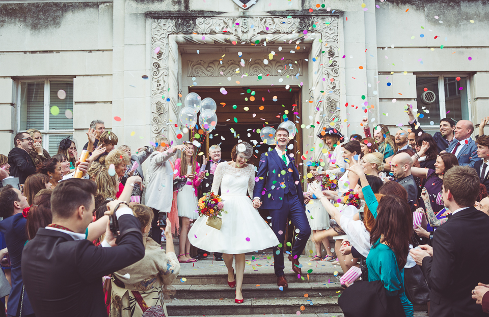 confetti on the steps of Wandsworth Town Hall