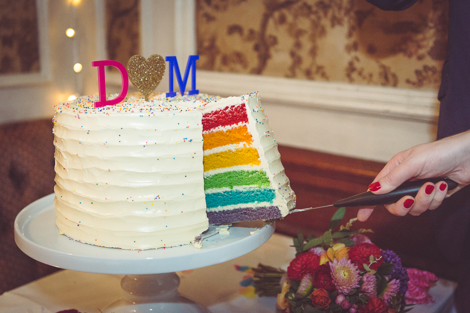 Rainbow wedding cake by Blossom and Crumb