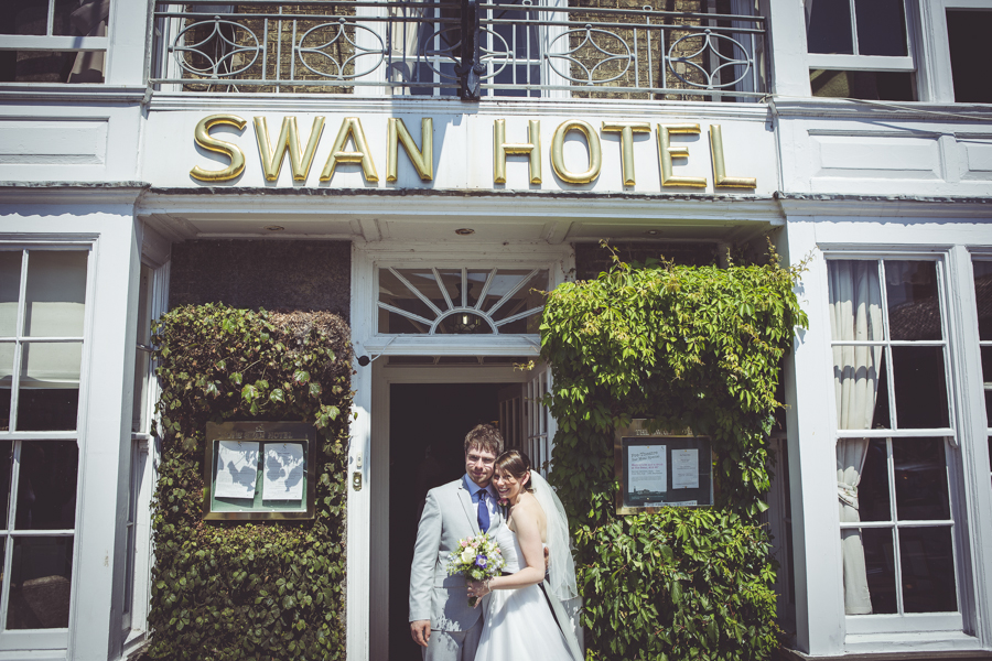 Bride and groom outside the swan hotel