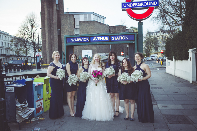 Wedding photos outside Warwick Avenue tube station