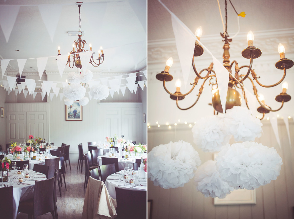 pompoms and bunting decorate the West Room