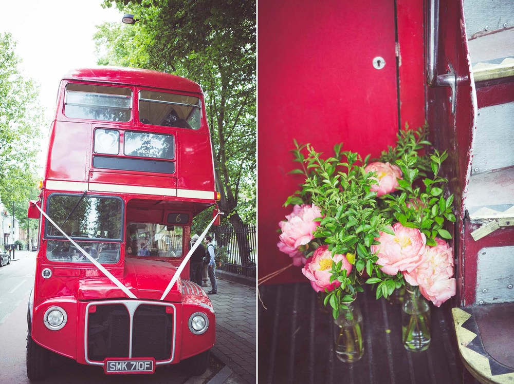 Route master bus transports the wedding guests
