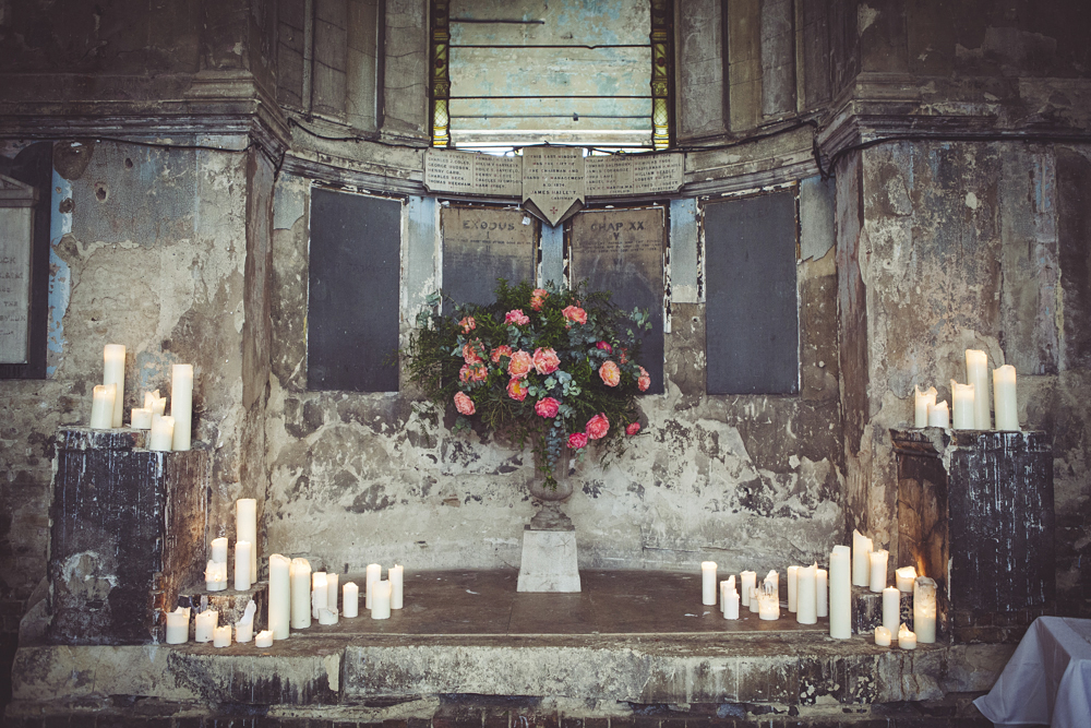 Flowers and candles decorate the Asylum Chapel