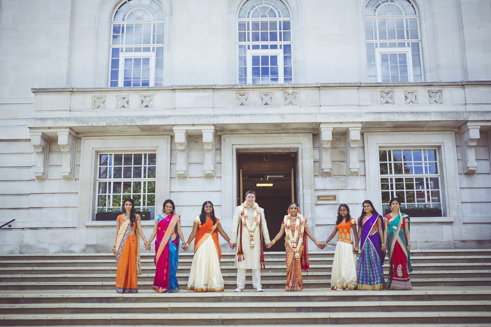 Wedding party at Hackney Town hall