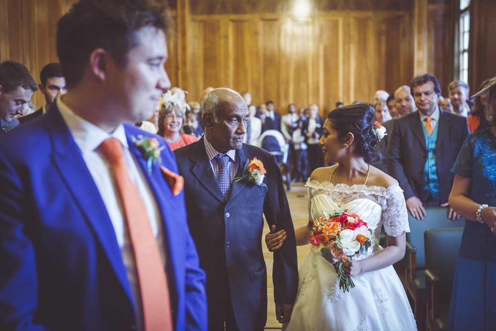 Bride and groom in Hackney Town Hall wedding chamber