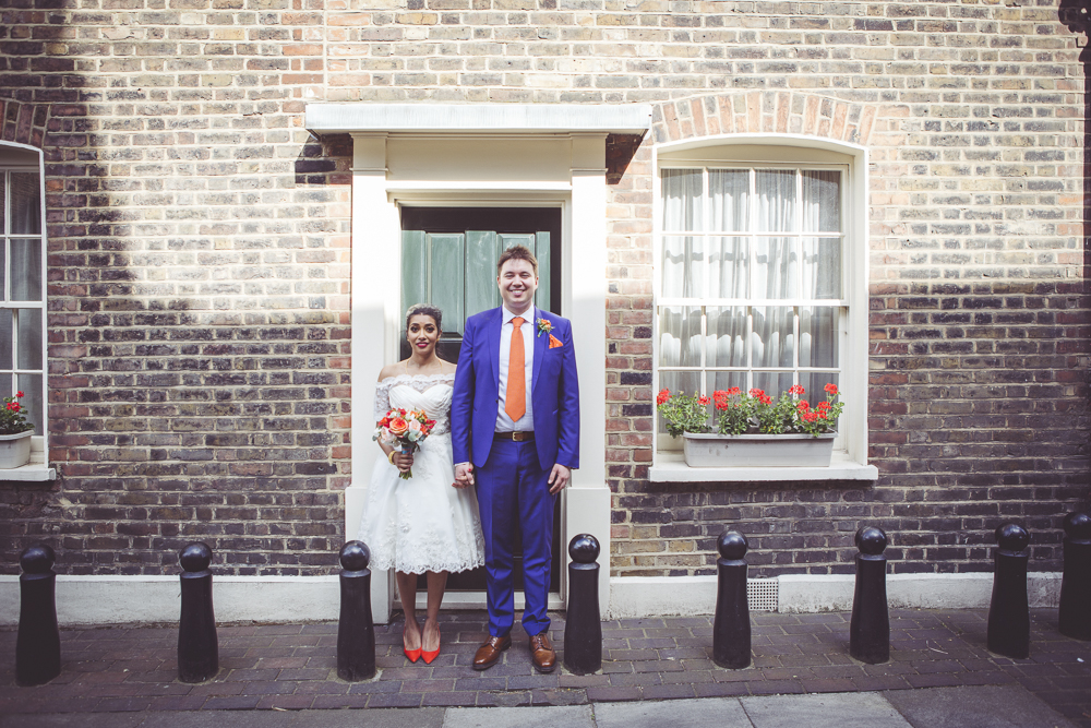 East London bride and groom